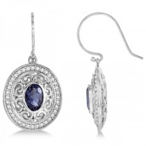 Diamond Accented Iolite Drop Earrings in 14k White Gold (1.33ct)