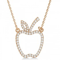 Diamond Accented Apple Pendant Necklace 14k Rose Gold (0.20ct)