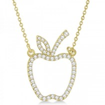 Diamond Accented Apple Pendant Necklace 14k Yellow Gold (0.20ct)