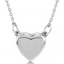 Heart Necklace with 18 inch Chain for Women Crafted of 14k White Gold