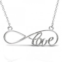 Women's Script Love Infinity Pendant Necklace 14k White Gold