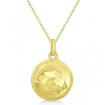 Hammered Disc Circle Pendant Necklace in 14k Yellow Gold
