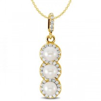 3 Stone Freshwater Pearl & Halo Diamond Pendant 14k Yellow Gold 0.20ct
