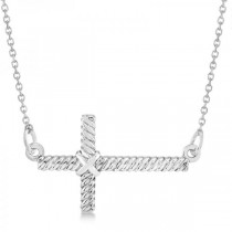 Religious Sideways Rope Cross Pendant Necklace in 14k White Gold