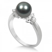 Ladies Tahitian Pearl Ring with Diamond Accents 14K White Gold 8-9mm