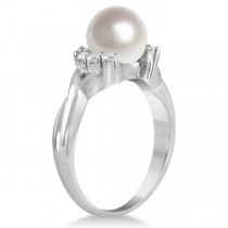 Freshwater White Pearl Ring w/ Diamond Accents 14K White Gold 8-8.5mm