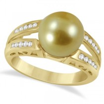 Diamond and Golden South Sea Pearl Ring Split Shank 14K Yellow Gold