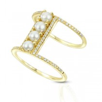 Seed Pearl Double Bar Ring w/ Diamond Accents 14k Yellow Gold (0.19ct)