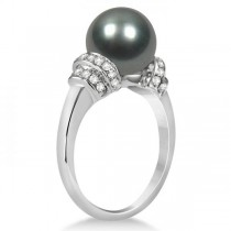 Tahitian Black Pearl Ring with Diamond Accents 14K White Gold 9-10mm