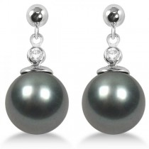 Cultured Tahitian Pearl Earrings with Diamonds 14K White Gold 10-11mm