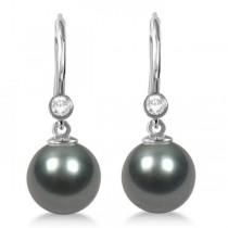 Tahitian Pearl & Diamond Leverback Earrings 14K White Gold 9-10mm