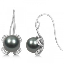 Tahitian Pearl Earrings w/ Floral Diamond Accents 14K White Gold 8-9mm
