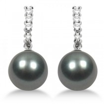Black Grey Tahitian Pearl and Diamond Drop Earrings 14K White Gold 8.9mm