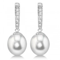 Freshwater Pearl & Diamond Bar Earrings 14K White Gold 8-8.5mm 0.06ct