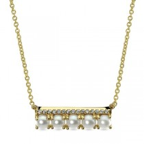 Pearl and Diamond Bar Necklace in 14k Yellow Gold (0.07ct)