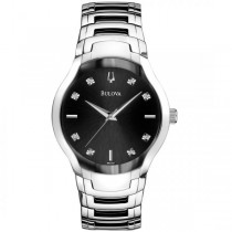 Bulova Men's Stainless Steel Diamond Accented Black Dial Quartz Watch