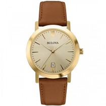 Bulova Men's Gold Dial Stainless Steel Brown Leather Strap Watch