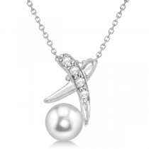 Freshwater Pearl & Diamond X Necklace Solitaire Pendant 14k White Gold