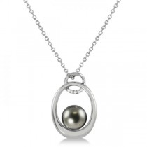 Tahitian Diamond Accented Floating Pearl Drop in 14K White Gold 8-9mm