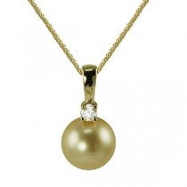 Golden South Sea Pearl & Diamond Drop Pendant 14K Yellow Gold 9-10mm