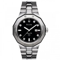 Bulova Men's Stainless Steel Diamond Accented Black Dial Sport Watch