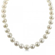 White Freshwater Pearl Strand Necklace 18 inch 12-13mm in 14k Gold