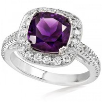 Amethyst and Diamond Gemstone Ring 14K White Gold (0.40ct)