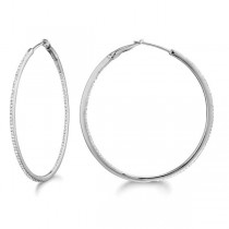 Micro Pave Large Round Diamond Hoop Earrings  Sterling Silver (0.39ct)