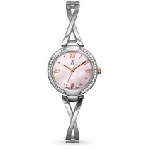 Allurez Women's Swarovski Crystal Accented Mother of Pearl Dial Watch