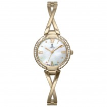 Allurez Women's Swarovski Crystal Accented Gold-tone Mother of Pearl Watch