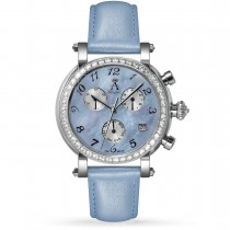Allurez Women's Blue Mother of Pearl Chronograph Leather Watch