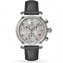 Allurez Women's Mother of Pearl Chronograph Black Leather Watch