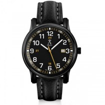 Allurez Men's Luminous Black Dial Leather Strap Crystal Watch