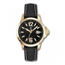 Allurez Unisex Gold-Tone Stainless Steel & Leather Diver Watch Swiss