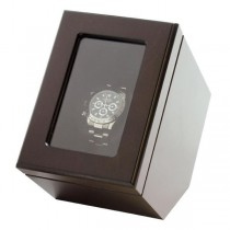 Single Automatic Watch Winder Box in Matte Brown Finish