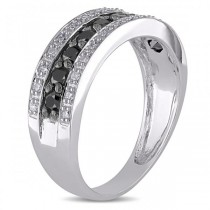 Black & White Diamond Three Row Wedding Band 14k White Gold 0.75ct
