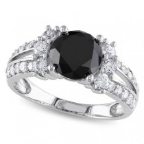 Black & White Diamond Engagement Ring 14k White Gold (2.66ct)