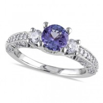 Diamond and Tanzanite Three Stone Engagement Ring 14k White Gold 1.50ct
