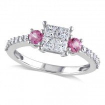 Diamond & Pink Sapphire Three Stone Engagement Ring 14k Gold (0.87ct)