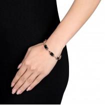 Marquise Black Onyx & Diamond Bracelet Pink Silver (15.87ct)