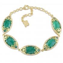 Marquise Green Onyx & Diamond Bracelet Yellow Silver (15.87ct)