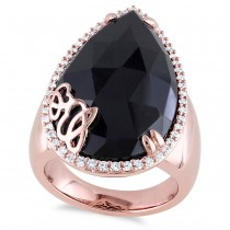 Pear Black Onyx & Diamond Fashion Ring Pink Sterling Silver (12.88ct)