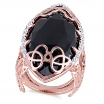 Marquise Black Onyx & Diamond Fashion Ring Pink Silver (25.30ct)