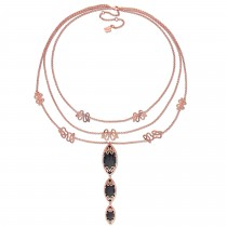 Marquise Black Onyx & Diamond Necklace Pink Sterling Silver (22.05ct)