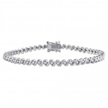 Diamond Accented Tennis Bracelet Sterling Silver (0.50ct)