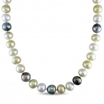Multi-Colored South Sea & Tahitian Pearl Necklace 14k Yellow Gold (10-12mm)
