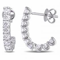 Diamond Ear Pin Huggie Earrings 14k White Gold (1.00ct)