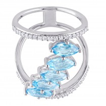 Marquise Blue Topaz & Diamond Fashion Ring Sterling Silver (3.45ct)