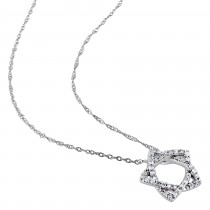 Diamond Star Pendant Necklace 14k White Gold (0.20ct) 17 Inch