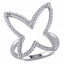 Diamond Butterfly Fashion Ring 14k White Gold (0.30ct)